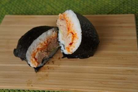 Spicy (canned) tuna Onigirazu sushi sandwich
