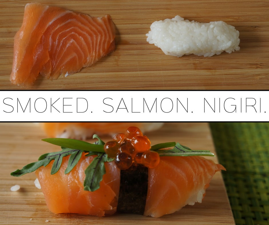 How to make smoked salmon nigiri